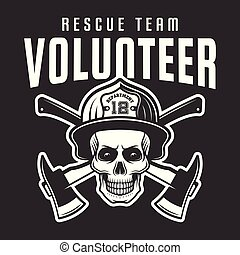Firefighter skull in helmet with text volunteer