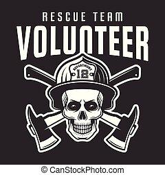 Firefighter skull in helmet with text volunteer