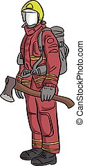 firefighter standing with big axe vector illustration sketch hand drawn with black lines isolated on white background