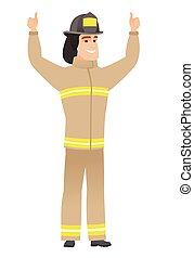 Firefighter standing with raised arms up.