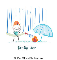 firefighter stands in the rain and extinguish the fire under the umbrella