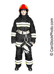 Firefighter isolated on a white background