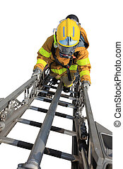 Firefighter ascends upon a one hundred foot ladder