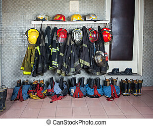 Firefighter Suits Arranged At Fire Station - Firefighter...