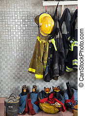 Firefighter Suits At Fire Station