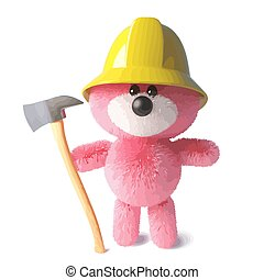 Firefighter teddy bear with pink fluffy fur wearing firemans hat and holding an axe, 3d illustration