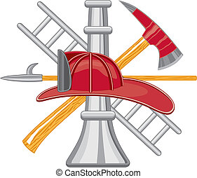 Firefighter Tools logo - Five color vector art can be easily...