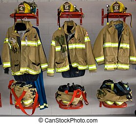 Firefighter uniform in a fire station in Norwich, Ontario, Canada.