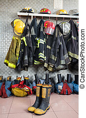 Firefighter Uniforms At Fire Station