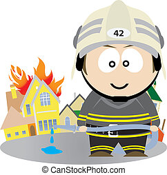 Firefighter. Vector illustration for you design