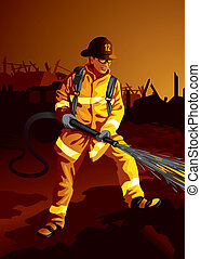 Firefighter - Vector illustration of a firefighter...