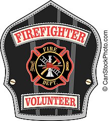 Firefighter Volunteer Badge is an illustration of a ...