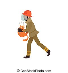 Firefighter Wearing Protective Uniform and Mask Rescuing Cat from Fire, Freman Character Doing His Job Vector Illustration