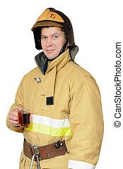Firefighter with a cup of black tea