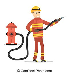 Firefighter with a hose and hydrant