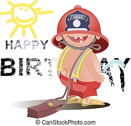Firefighter with a hose sign. . Great for any fire safety design projects.