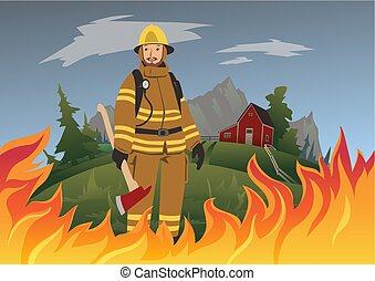Firefighter with an ax standing in the midst of fire. Vector illustration.