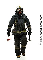 Firefighter with axe and wearing oxygen mask isolated on ...