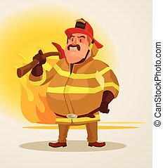 Firefighter with axe stands on fire background. Vector flat...