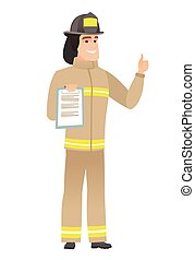 Firefighter with clipboard giving thumb up.
