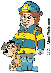 Firefighter with dog - vector illustration.
