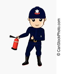 Firefighter with Fire-Extinguisher