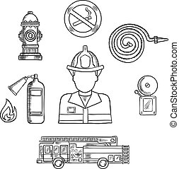 Firefighter with fire protection sketch symbols