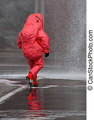firefighter with red protective gear - fireman with red ...