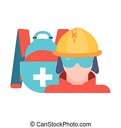 firefighter with safety handbag on white background