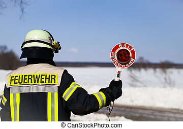 Firefighter with with stop trowel