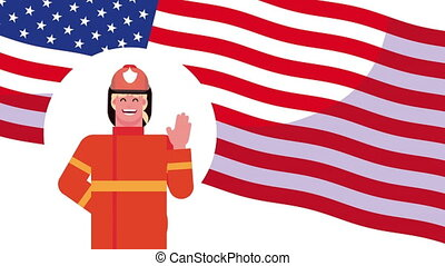 firefighter worker with uniform in usa flag ,4k video animated