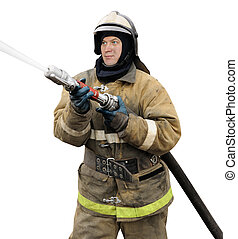 Firefighter working with fog nozzle