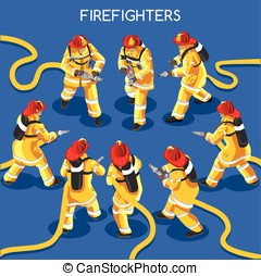 Firefighters 01 People Isometric