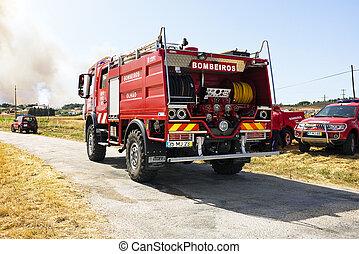 Firefighters fighting huge bushfire