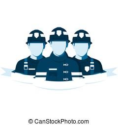 firefighters, hold, isoleret, på hvide