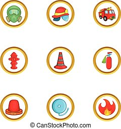 Firefighters icon set, cartoon style
