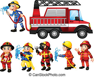 Firefighters - Illustration of a set of firefighters
