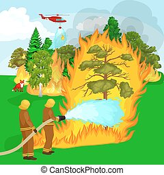 Firefighters in protective clothing and helmet with helicopter extinguish with water from hoses dangerous wildfire.Man fighter and rescue helicopter put out the fire in forest landscape damage vector