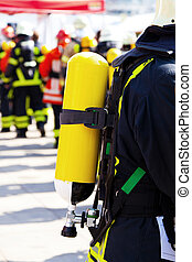 firefighters, på, pligt