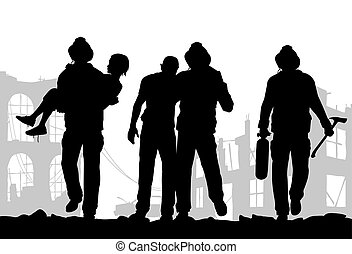 Firefighters silhouette - Vector illustration of firefighter...