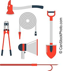 Firefighters tools vector set. - Cartoon collection of fire...
