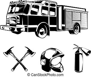 Firefighters vector elements for labels or logos. Helmet and...