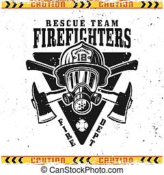 Firefighters vector emblem with head in helmet