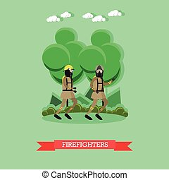 Firefighters vector illustration in flat style