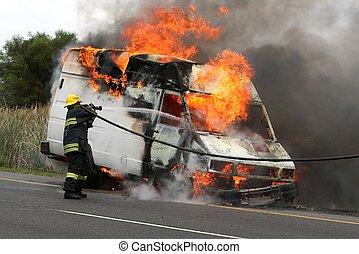 firefighting, 燃焼, 車