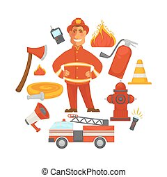 Firefighting and fire protection poster of firefighter extinguishing equipment vector flat icons
