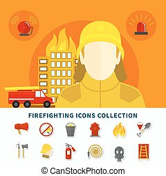 firefighting, collection, icônes
