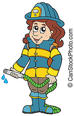 Firefighting girl on white background - vector illustration.