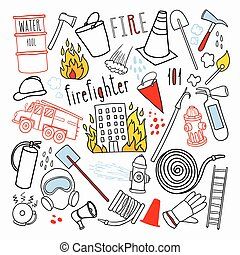 Firefighting Hand Drawn Doodle. Firefighter, Fireman, Emergency Elements Set. Vector illustration
