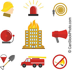 Firefighting icons flat set of burning building fire alarm...